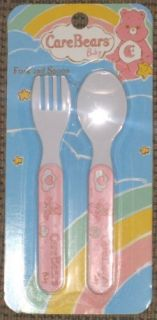 Care Bear Pink Baby Toddler Feeding Spoon Fork Set