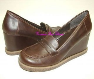 A92 Brown Penny Loafer Casual Wedge High Heel Shoes