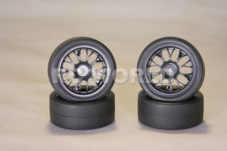 RC 1/10 TAMIYA CAR TIRES WHEELS RIMS PACKAGE BLACK RACING SLICKS