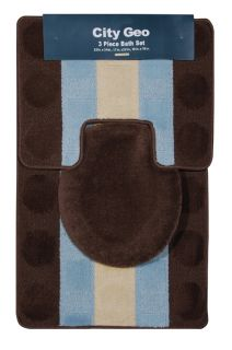 Stripes Brown Teal 3 Piece Bathroom Shower Ensemble Bath Rug Set