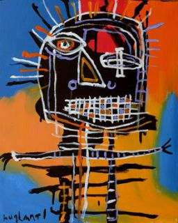 HUGHART abstract outsider basquiat inspired folk art painting WET YOUR