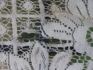 Antique Vintage Bayer Label French Lace Peacock Panel Curtains 2 Panel