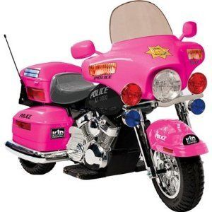 kids girls pink battery powered ride on toy police chopper motorcycle