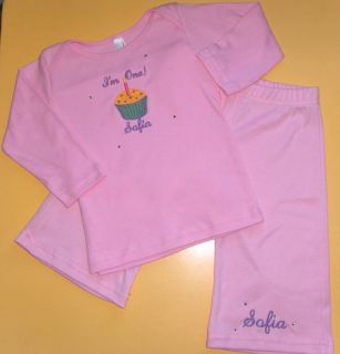 Personalized Cupcake First 1st Birthday Shirt Pants Set