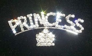 Princess with Tiara Crown Rhinestone Lapel Brooch Pin