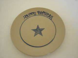Beaumont Brothers pottery Happy Birthday star plate blue cobalt salt