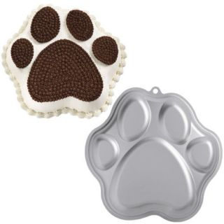 paw print wilton novelty cake tin pan animal teddy aluminium