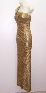 Betsy Adam Gold Metallic One Shoulder Ruched Formal Gown Dress 10