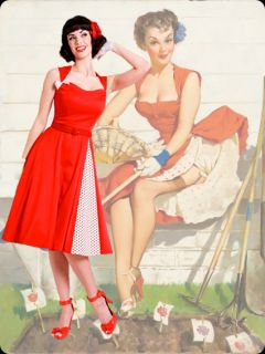Elvgren Art Bettie Page 50s Style Nice Crop Holiday Red Bow Swing