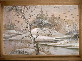 Ukrainian Winter Trees Snow Hill River Birch Bark Art Painting Signed