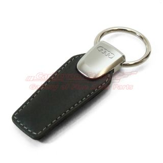 Audi Rings Black Leather Key Chain Keychain Genuine Product Free Gift