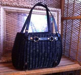 RARE Kate Spade Black Wicker Basket Purse with Black Leather Gold