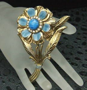 Vintage Large Blue Glass Enamel Rhinestone Flower Brooch