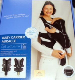 Baby Bjorn Infant Baby Carrier Miracle Black Silver Cotton Mix New