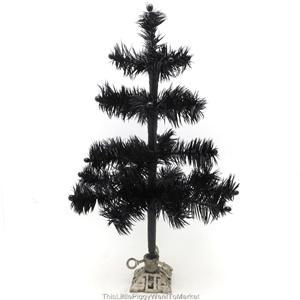 12 BLACK FEATHER HALLOWEEN / CHRISTMAS TREE with VINTAGE STYLE CAST
