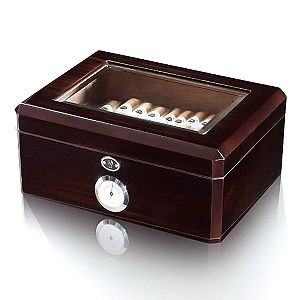 HERITAGE HUMIDOR 50 CIGAR BOX HAND POLISHED CEDAR LINING GLASS TOP