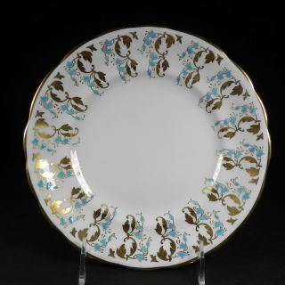 Royal Chelsea Luncheon Plate Blue Bell Flowers Gold English Bone China