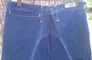 Wrangler Curve 1970s Vintage Big Bell Bottom Blue Denim Jeans with
