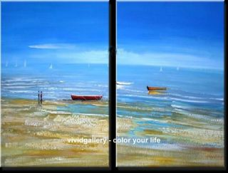 Painting Stretched Hand pained 40 x32 Blue Sky Sea Boat Beach GH042