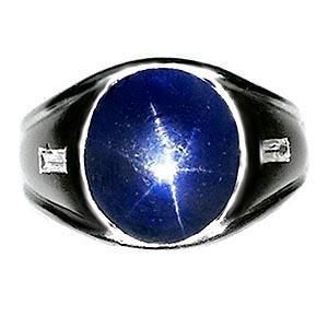 Estate Mens Burmese Star Blue Sapphire Diamond Ring Solid Platinum
