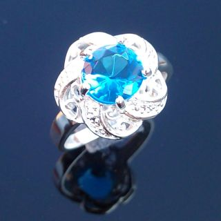 Fashion Jewelry Gift Silver Gemstone Ring Blue Topaz Ring Size 9