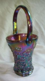 Smith Daisy Basket Purple Carnival Glass With Applied Handle
