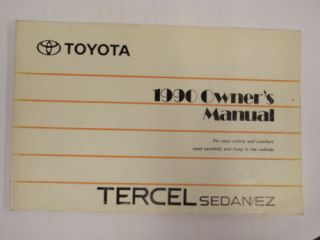 1990 Toyota Tercel Owners Manual