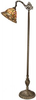Dale Tiffany Bochner Downbridge Floor Lamp, Art Glass Floral Shade
