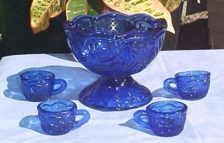 Miniature Cobalt Blue Depression Glass Punch Bowl Cup Set New