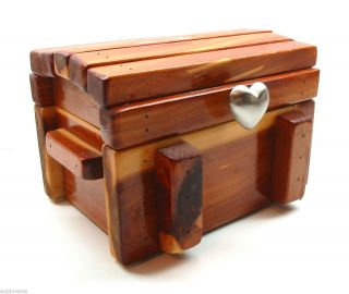 STYLE WOOD JEWELRY CHEST WITH INNER BOX & METAL HEART SHAPED HANDLE