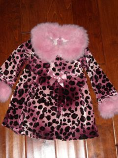 BONNIE BABY Pink Leopard 24M Dress with Pink Faux Fur Preowned