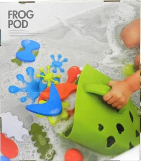 Boon Green Frog Pod Baby Bath Toy Scoop Drain Storage