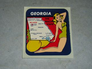 Vintage Georgia State Souvenir Travel Decal Sticker Pin Up Girl