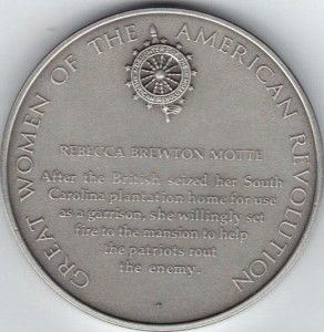 American Revolution Franklin Mint Pewter Medal Rebecca Brewton Motte