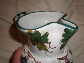Vintage Italy Green Leaf Grape Water Pitcher Jug