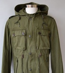 Burberry Brit SS11 Mens Heavy Cotton Canvas Hooded Safari Coat Jacket
