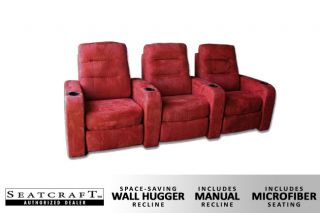 Seatcraft Buccaneer Row of 3 Seats Home Theater Seating Chairs Red