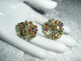 Vintage LISNER Aurora Borealis Rhinestone Screwback Earrings