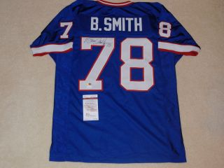 BRUCE SMITH SIGNED BUFFALO BILLS THROWBACK JERSEY JSA AUTHENTICATED