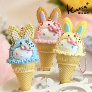 Hello Kitty Cute Bunny Ice Cream Corn Ornment, Charm & Ball Point Pen