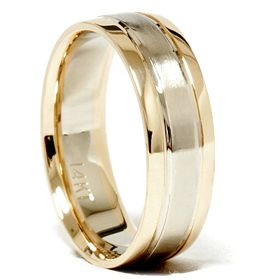 Mens 14k White Yellow Gold Two 2 Tone Brushed Wedding Ring Band 6 mm