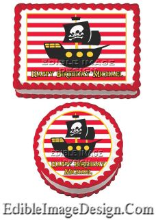 Little Buccaneer Pirate SHIP Birthday Edible Party Cake Image Cupcake