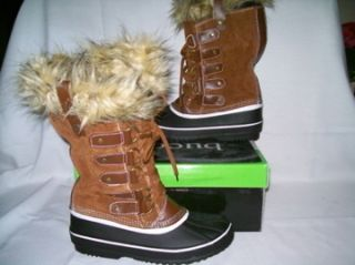 Bucco Capensis Krista Fur Winter Snow Boots Women Size 10 Brown Tan