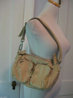 FRANCESCO BIASIA TAN BEIGE MICROFIBER LEATHER SATCHEL SHOULDER BAG