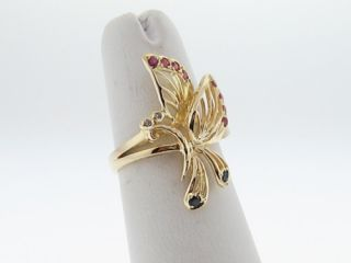 Butterfly Natural Ruby Blue Sapphires Diamonds Solid 14k Yellow Gold