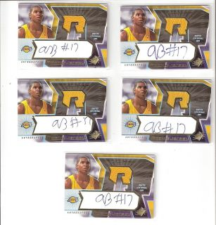 Andrew Bynum 05 06 SPx Auto Jersey Rookie 5 Count Lot 132 Serial 1499