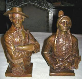 Antique Bronze Art Sculpture Museum Bookends Indian War Army Custer LG