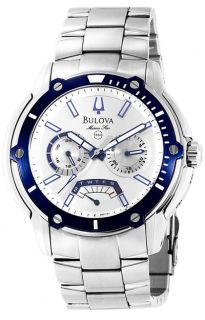 Bulova Marine Star Mens Bracelet Watch Blue Bezel
