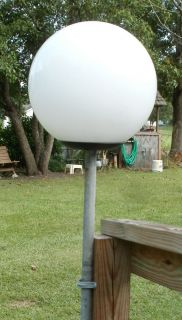 OUTDOOR GLOBE BALL POST LIGHT WHITE GARDEN DECK NO PIPE 12 INCH