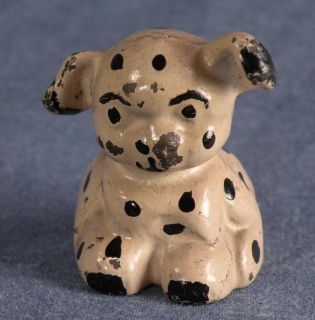 Vintage Cast Iron Spotted Terrier Puppy Dog Great Collector Gift